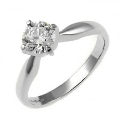 Platinum 0.51ct D SI1 EGL round brilliant cut diamond ring