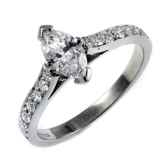 Platinum 0.51ct D VS2 GIA marquise diamond solitaire ring.