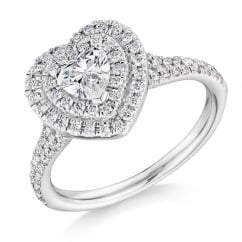 Platinum 0.51ct E VS1 IGI heart cut diamond double halo ring.