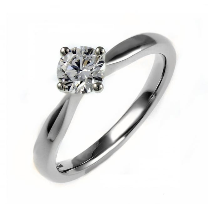 Platinum 0.51ct F SI2 EGL round brilliant cut diamond ring.