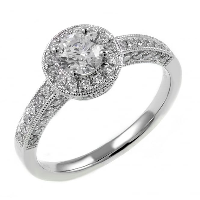 Platinum 0.51ct F VS2 GIA round brilliant diamond art deco ring.
