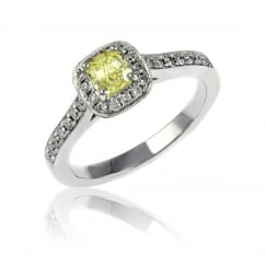 Platinum 0.51ct fancy yellow VVS2 GIA cushion diamond halo ring.