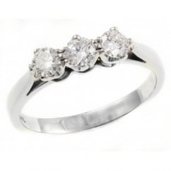 Platinum 0.51ct round brilliant cut diamond 3 stone ring.