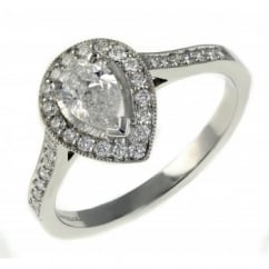Platinum 0.52ct F VS2 GIA pear shape diamond halo ring.
