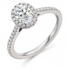 Platinum 0.52ct F VS2 IGI oval diamond halo ring