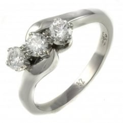 Platinum 0.52ct round brilliant cut diamond 3 stone twist ring.