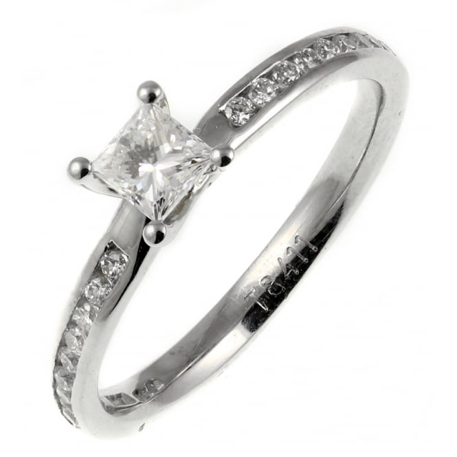 Platinum 0.53ct D VVS1 EGL princess cut diamond solitaire ring.