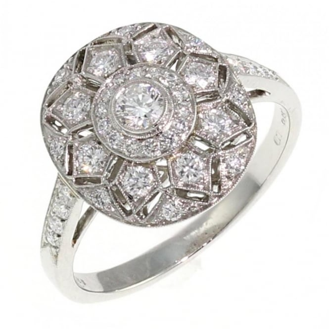 Platinum 0.53ct oval art deco style diamond cluster ring.