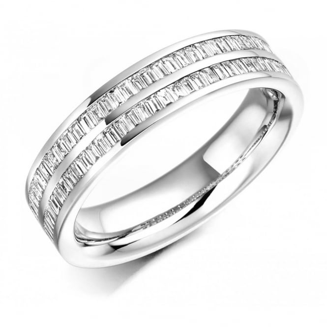 The Raphael Collection Platinum 0.55ct 2 row baguette diamond half eternity ring.