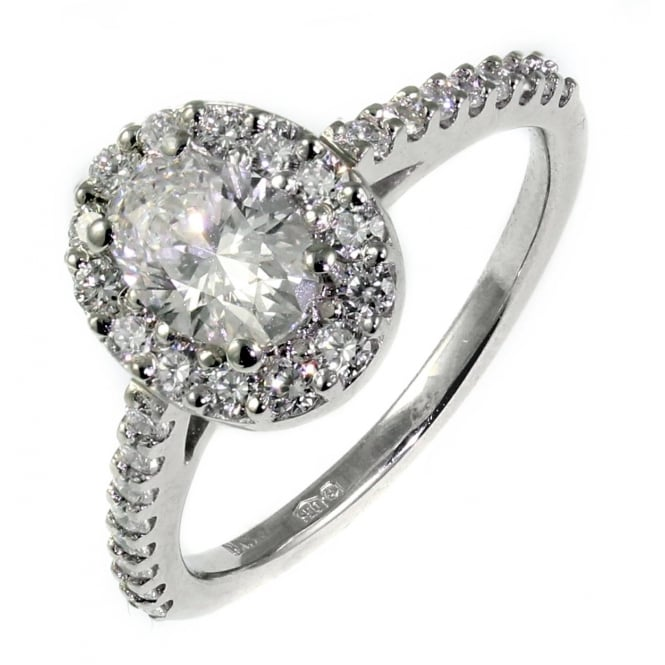 Platinum 0.55ct D VS1 GIA oval diamond halo ring.