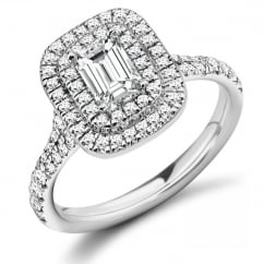 Platinum 0.55ct F VVS1 IGI emerald cut diamond double halo ring.