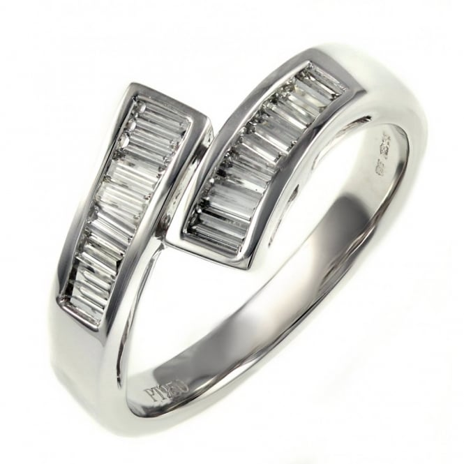 Platinum 0.56ct baguette cut channel twist diamond ring.