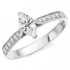 Platinum 0.56ct F SI1 IGI marquise diamond solitaire ring.