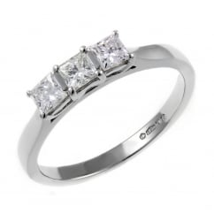 Platinum 0.57ct princess cut diamond 3 stone ring.