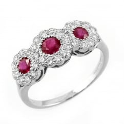 Platinum 0.58ct ruby & 0.38ct diamond triple cluster ring.