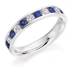 Platinum 0.58ct sapphire & 0.36ct diamond half eternity ring.