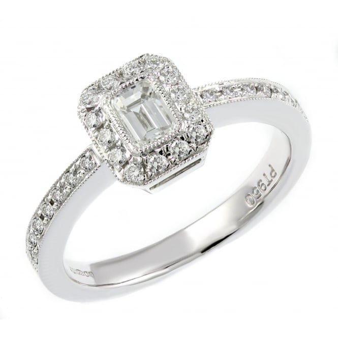 Platinum 0.59ct emerald cut diamond art deco style cluster ring.