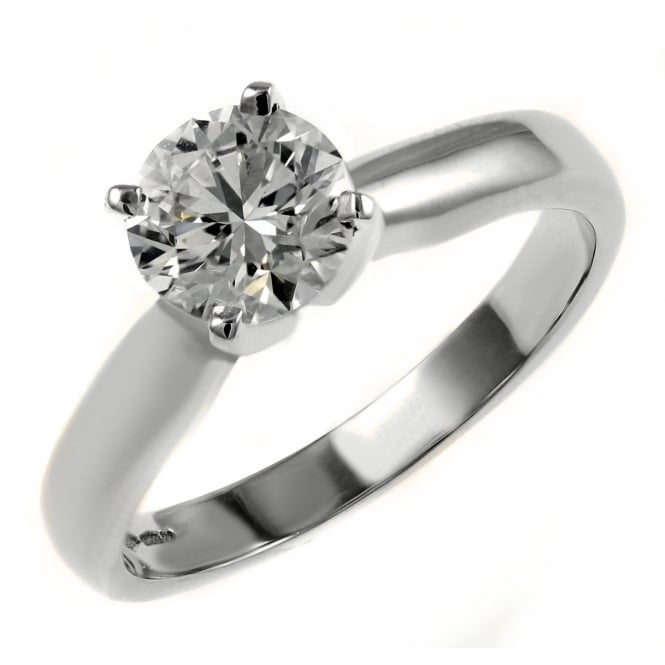 Platinum 0.60ct E VS2 EGL round brilliant cut diamond ring.