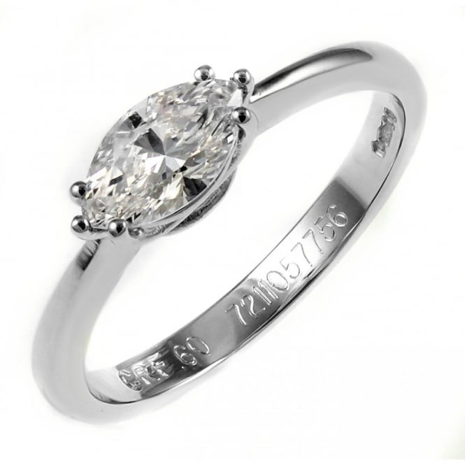 Platinum 0.60ct E VS2 GIA marquise shape diamond solitaire ring.