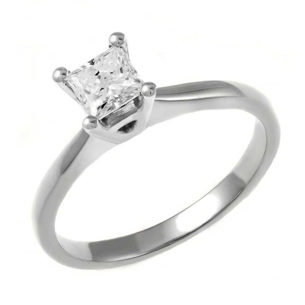 f7f9c7b5830928 Platinum 0.60ct E VS2 GIA princess cut diamond ring - Engagement from Mr  Harold and Son UK