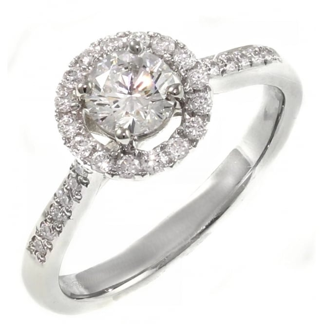 Platinum 0.60ct E VS2 GIA round brilliant cut diamond halo ring