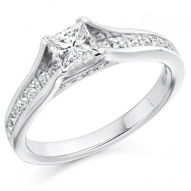 The Raphael Collection Platinum 0.60ct G VS1 GIA princess cut diamond solitaire ring.