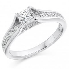 Platinum 0.60ct G VS1 GIA princess cut diamond solitaire ring.