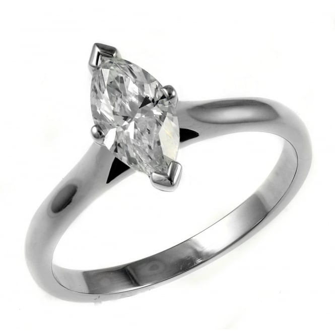 Platinum 0.60ct G VVS1 GIA marquise cut diamond solitaire ring.