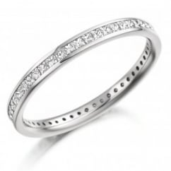 Platinum 0.62ct princess cut diamond full eternity ring.