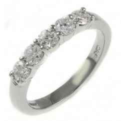 Platinum 0.62ct round brilliant cut diamond 5 stone ring.