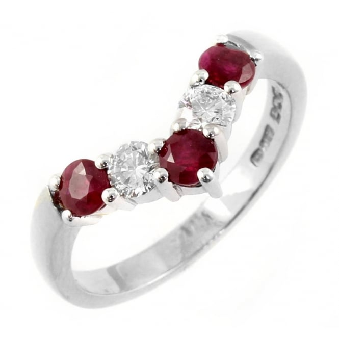 Platinum 0.62ct ruby & 0.33ct diamond wishbone ring.