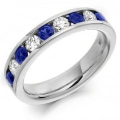 Platinum 0.65ct sapphire & 0.46ct diamond half eternity ring.