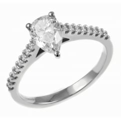 Platinum 0.70ct D VS1 EGL pear cut diamond solitaire ring.