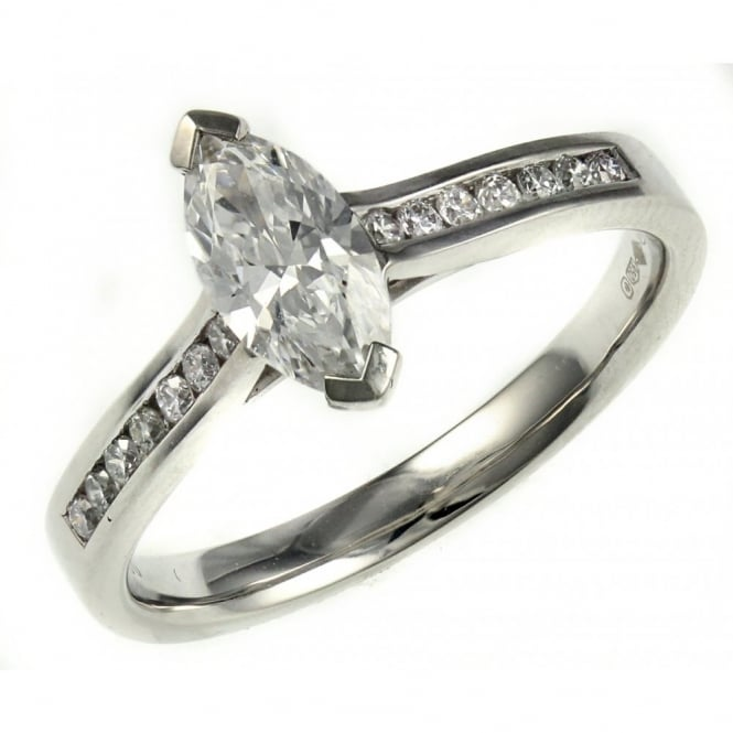 Platinum 0.70ct D VS2 EGL marquise cut diamond solitaire ring.