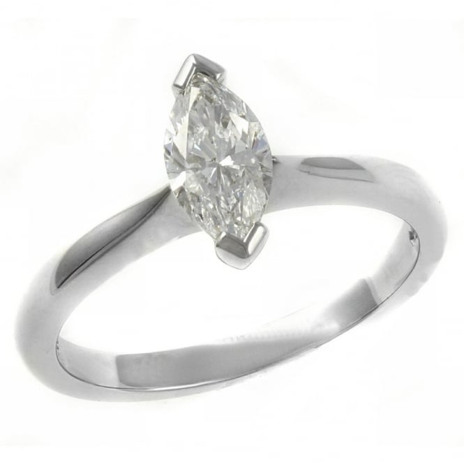 Platinum 0.70ct D VS2 GIA marquise cut diamond solitaire ring.