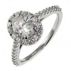 Platinum 0.70ct D VVS2 EGL oval diamond halo ring.