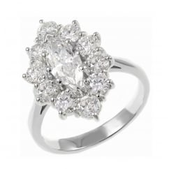 Platinum 0.70ct E SI2 GIA marquise cut diamond cluster ring.