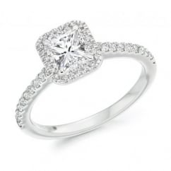 Platinum 0.70ct H VVS1 IGI radiant cut diamond halo ring.