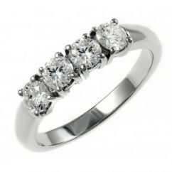 Platinum 0.70ct round brilliant cut diamond 4 stone ring.