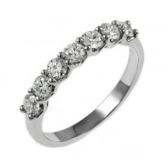 Platinum 0.70ct round brilliant cut diamond 7 stone ring.