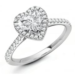 Platinum 0.71ct D VS1 IGI heart cut diamond halo ring.