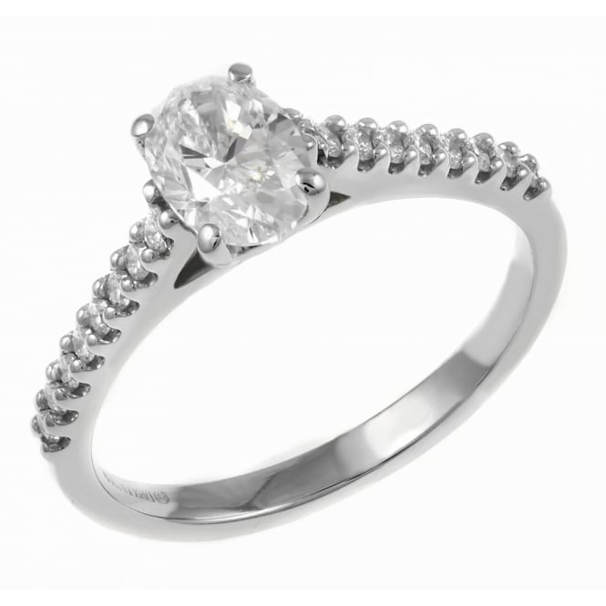 Platinum 0.71ct D VS2 EGL oval cut diamond solitaire ring.