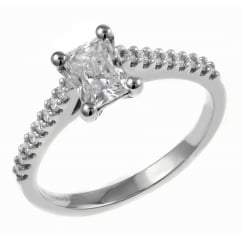 Platinum 0.71ct E VVS1 EGL radiant cut diamond solitaire ring.