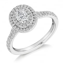 Platinum 0.71ct F VS2 IGI oval diamond double halo ring.