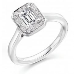 Platinum 0.71ct H VS1 IGI emerald cut diamond halo ring.