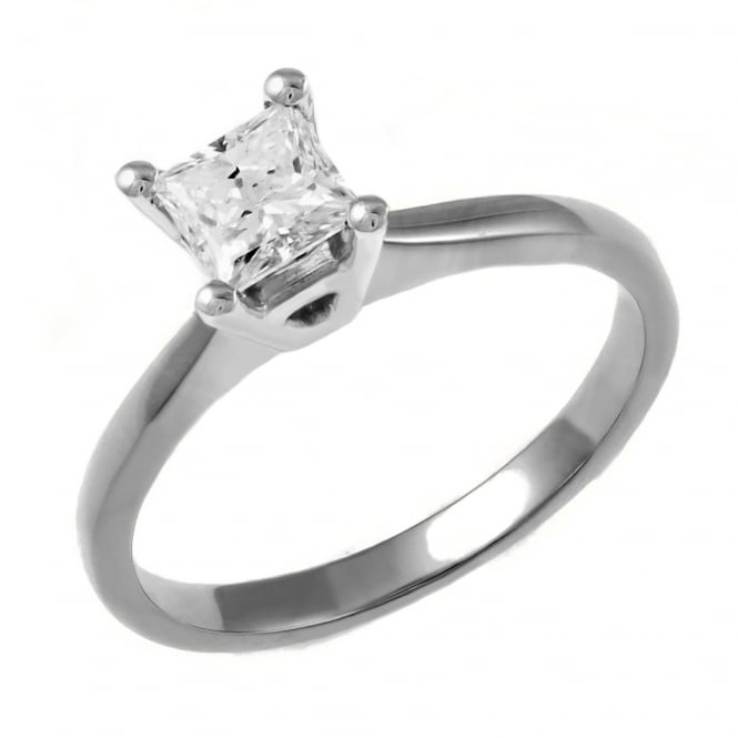 Platinum 0.72ct D VS2 GIA princess cut diamond solitaire ring.