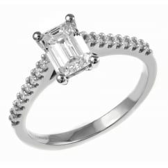 Platinum 0.73ct D VVS2 EGL emerald cut diamond solitaire ring