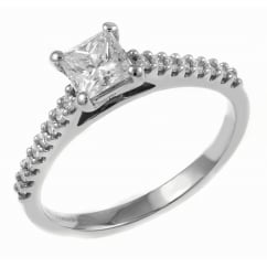 Platinum 0.74ct D VS1 EGL princess cut diamond solitaire ring.