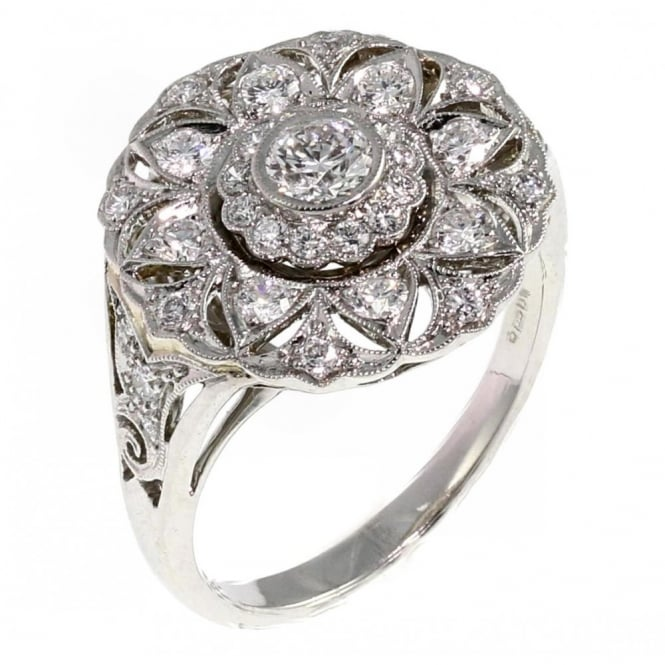 Platinum 0.74ct round victorian style cluster diamond ring.