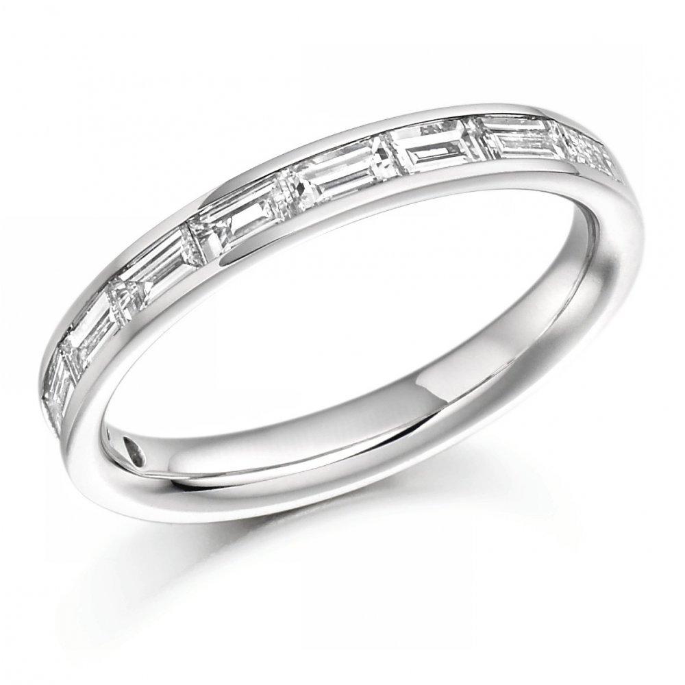 bf6d902c977da Platinum 0.75ct baguette cut diamond half eternity ring